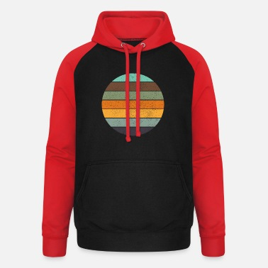 Retro rainbow sunset blue - Unisex Baseball Hoodie