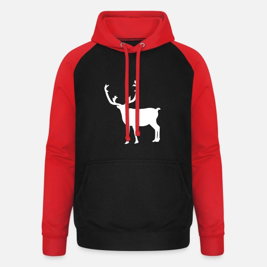 Stag Hoodies & Sweatshirts - Deer with antlers - Unisex Baseball Hoodie black/red