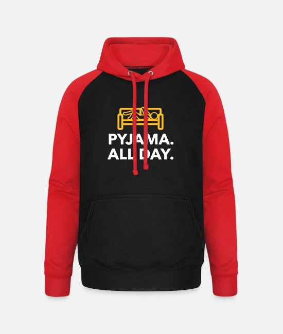 Bed Hoodies & Sweatshirts - Throughout The Day In Your Pajamas! - Unisex Baseball Hoodie black/red