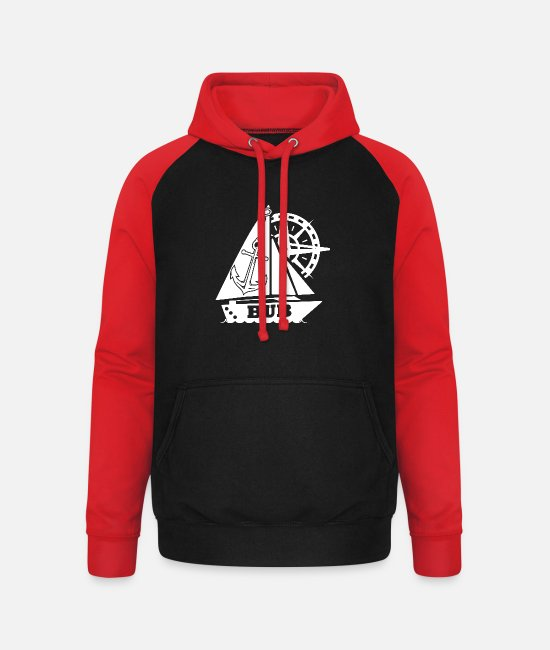 Maritime Hoodies & Sweatshirts - Anchor Sailing Ship Marine Steering Wheel Bub - Unisex Baseball Hoodie black/red