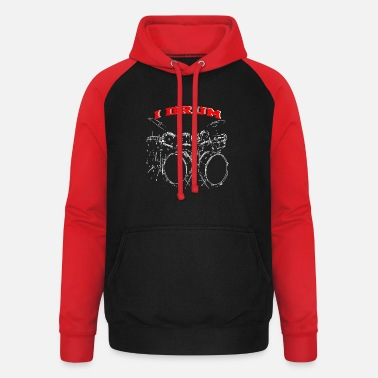 Drum Set I DRUM Big Drum Set - Unisex Baseball Hoodie