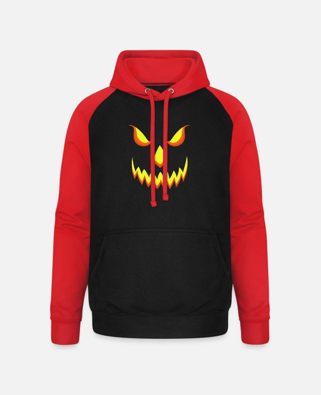 Customs Hoodies & Sweatshirts - Halloween pumpkin zombies horror ghost costume zombi - Unisex Baseball Hoodie black/red