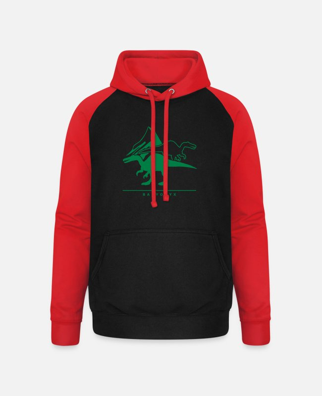 Reptile Hoodies & Sweatshirts - Urzeitriesen: Baryonyx - Unisex Baseball Hoodie black/red
