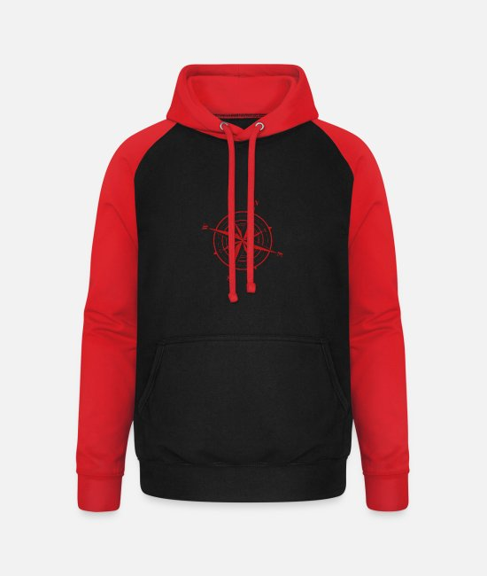 Orientation Hoodies & Sweatshirts - Northrend Compass Northeast - Unisex Baseball Hoodie black/red