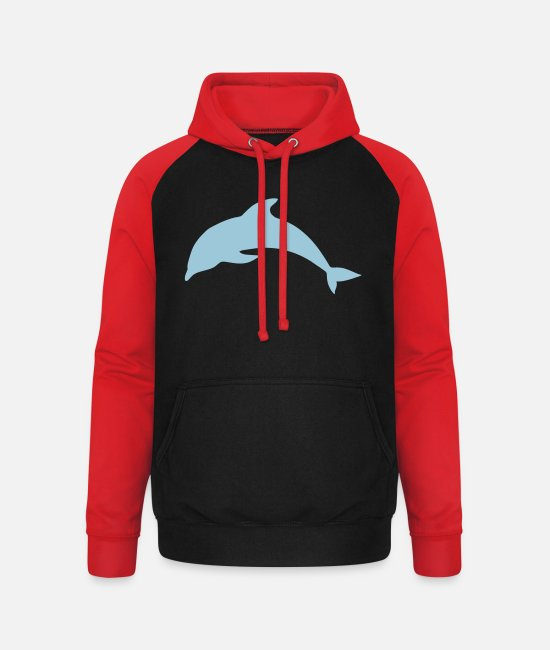 Water Hoodies & Sweatshirts - Dolphin Animal Sea - Unisex Baseball Hoodie black/red