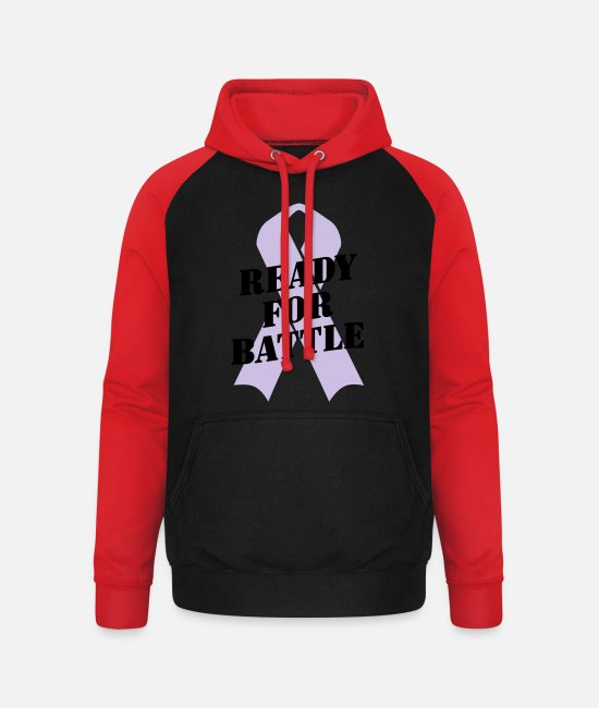 Ready Hoodies & Sweatshirts - Ready for Battle Ribbon - Unisex Baseball Hoodie black/red