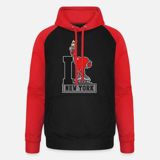 Love Hoodies & Sweatshirts - I Love New York transparent Bg - Unisex Baseball Hoodie black/red