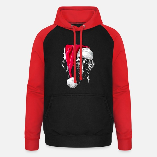 Labrador Hoodies & Sweatshirts - LABRADOR Christmas Wilsigns Santa - Unisex Baseball Hoodie black/red