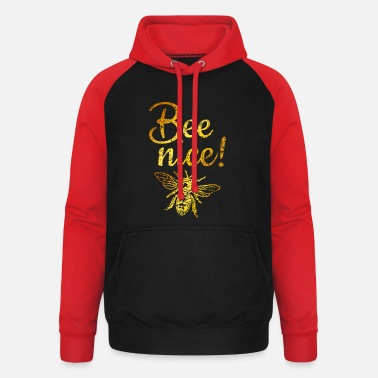 Bee Nice (Vintage Golden Yellow) Beekeeping bee beekeeper - Unisex Baseball Hoodie