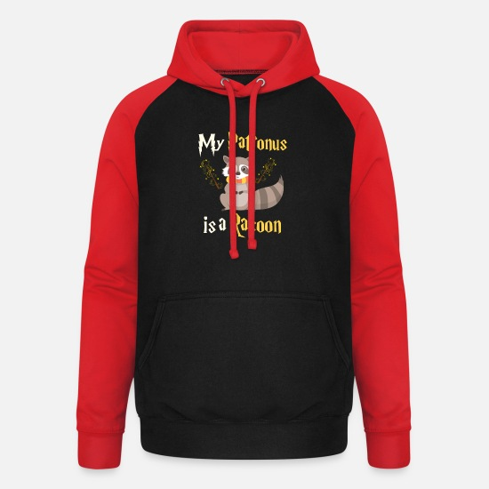 Gift Idea Hoodies & Sweatshirts - racoon - Unisex Baseball Hoodie black/red
