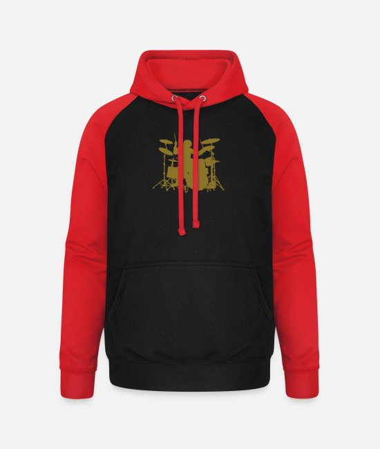 Pearl Hoodies & Sweatshirts - Drums - Unisex Baseball Hoodie black/red
