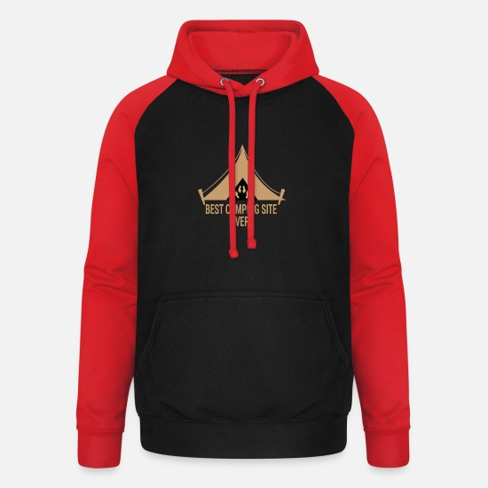 Tent Hoodies & Sweatshirts - Best Camping Site - Unisex Baseball Hoodie black/red