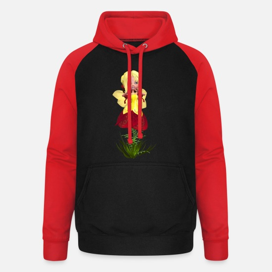 Call Hoodies & Sweatshirts - Flower Fairy - Unisex Baseball Hoodie black/red
