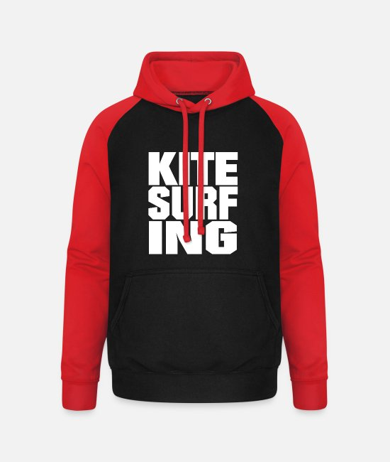 Water Hoodies & Sweatshirts - Kitesurfing font - Unisex Baseball Hoodie black/red