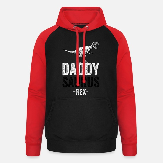 Dad Hoodies & Sweatshirts - DADDYSAURUS REX - Funny Gift Dad Father - Unisex Baseball Hoodie black/red