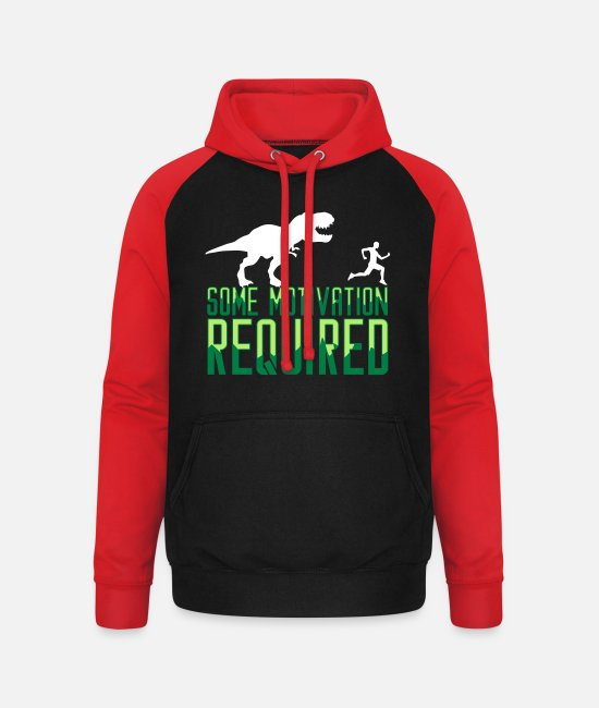 Runner Hoodies & Sweatshirts - Some Motivation Required Joggen Jogger Fitness Gym - Unisex Baseball Hoodie black/red