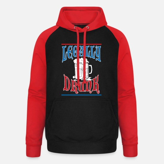 Birthday Hoodies & Sweatshirts - Legal drunk adult alcohol gift - Unisex Baseball Hoodie black/red