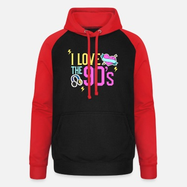 Jaren Negentig 90's I love the 90s outfit gift music - Unisex baseball hoodie
