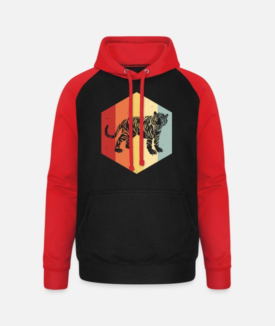 Sumatran Tiger Hoodies & Sweatshirts - Tiger big cat predator leopard retro - Unisex Baseball Hoodie black/red