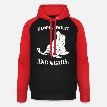 Extreme motor sports biking blood sweat and gears - Unisex Baseball Hoodie