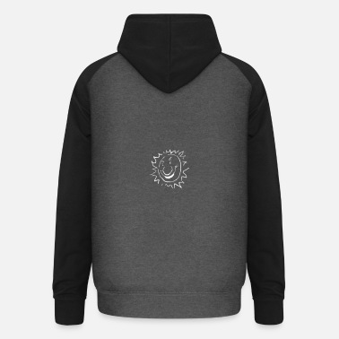 Smiling sun with a big nose - Unisex Baseball Hoodie