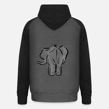 Backside Elephant Backside - Felpa da baseball con cappuccio unisex