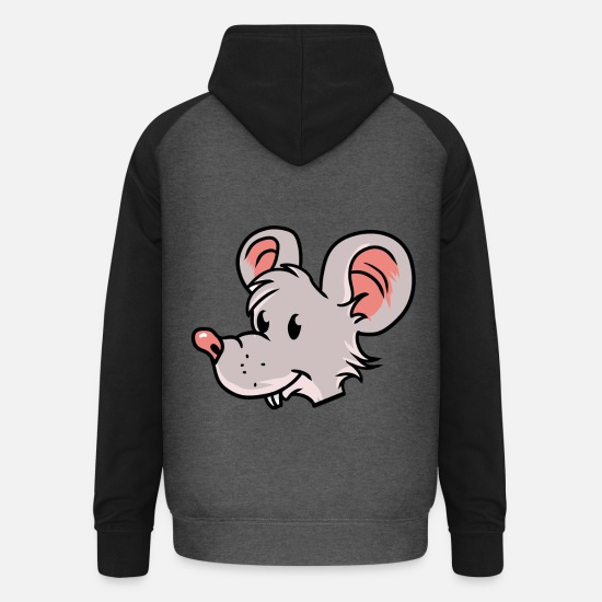 Rat Sweaters & hoodies - Mouse Rodent Mausi Mouse Fantasy Kinderen - Unisex baseball hoodie grafietgrijs/zwart