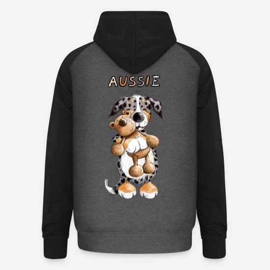 Dancing Hoodies & Sweatshirts - Aussie with teddy - Unisex Baseball Hoodie graphite/black