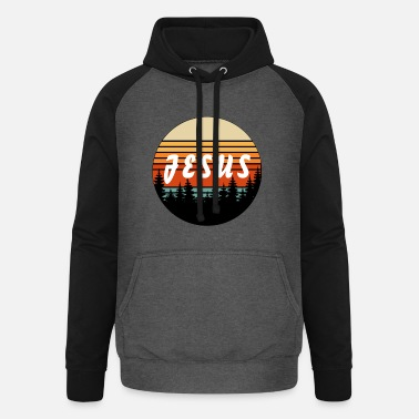 Simple Jesus Retro Vintage Sunset - Chrétien - Sweat à capuche baseball unisexe