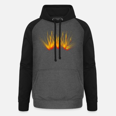 Fire beam laser colorful flame party - Unisex Baseball Hoodie