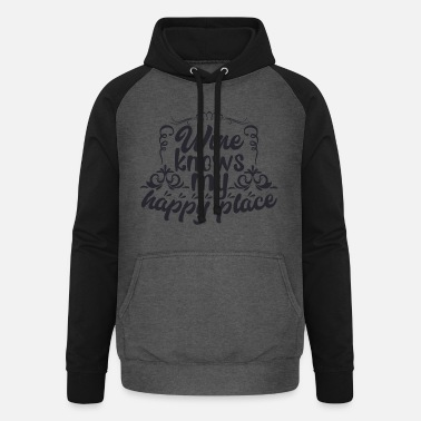Ornament Wine knows my happy place - Unisex Baseball Hoodie