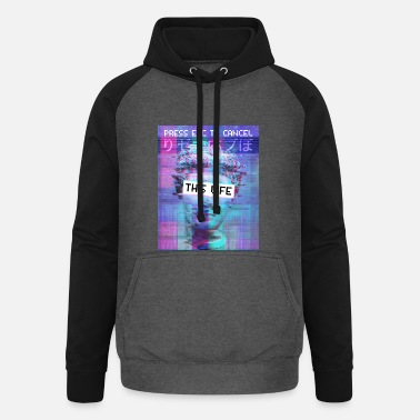 Vaporwave Aesthetic Press Esc To Cancel This Life - Unisex Baseball Hoodie