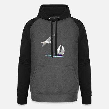 sailboat and seagulls - Unisex Baseball Hoodie