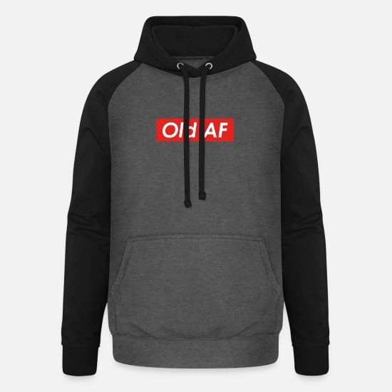 Over Hoodies & Sweatshirts - Old AF Over the Hill Gag Gift design - Unisex Baseball Hoodie graphite/black