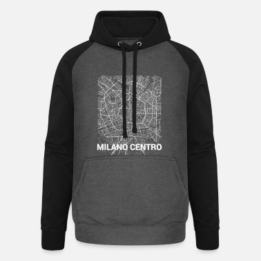 Set25 Milano centro city map and streets - Unisex Baseball Hoodie