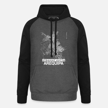 Arequipa Straight Outta Arequipa city map and streets - Unisex Baseball Hoodie
