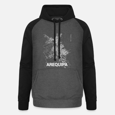 Arequipa Arequipa city map and streets - Unisex Baseball Hoodie