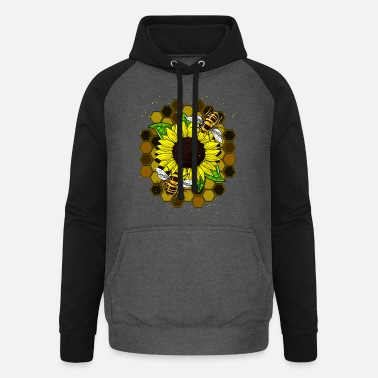 Womens Bee Sunflower Bees Hippie - Unisex Baseball Hoodie