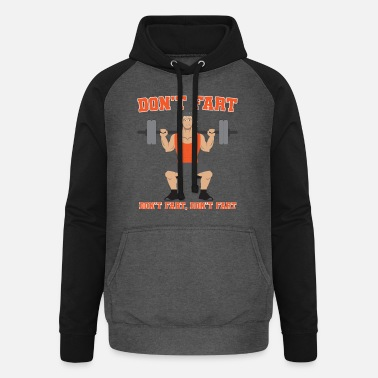 Squatters Don't fart weightlifter shirt - Unisex Baseball Hoodie
