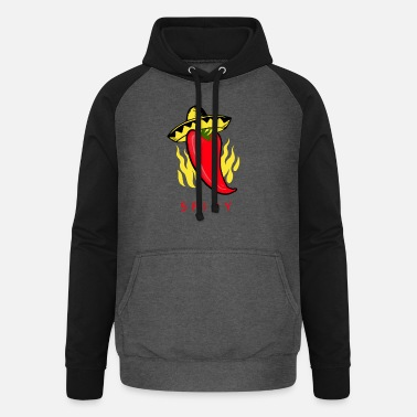 Chilli Pepper Spicy Chilli Pepper Chili Pod with Sombrero Design - Unisex Baseball Hoodie