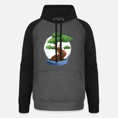 Bonsai tree painting with red flowers - Unisex Baseball Hoodie