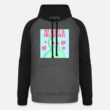 my heart is full of cats cute alien - blau - Unisex Baseball Hoodie