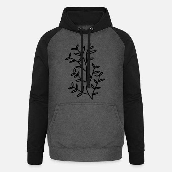 Ast Hoodies & Sweatshirts - Branch branch leaf leaves plant nature mistletoe fir - Unisex Baseball Hoodie graphite/black