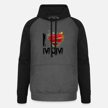 I Love I love mom uk - Unisex Baseball Hoodie