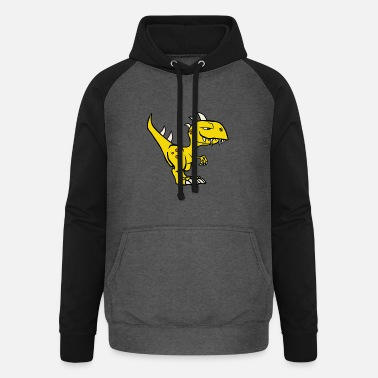 Yellow Dinosaur in yellow - Unisex Baseball Hoodie