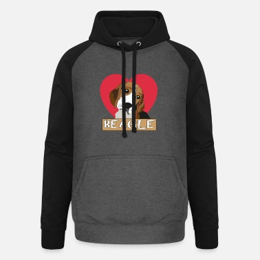 Beagle with a heart - Unisex Baseball Hoodie