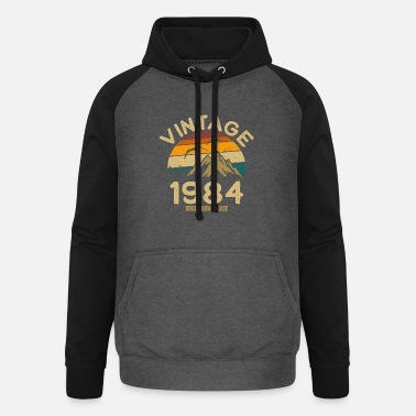 Born Born in 1984 Vintage 1984 Gift - Unisex Baseball Hoodie