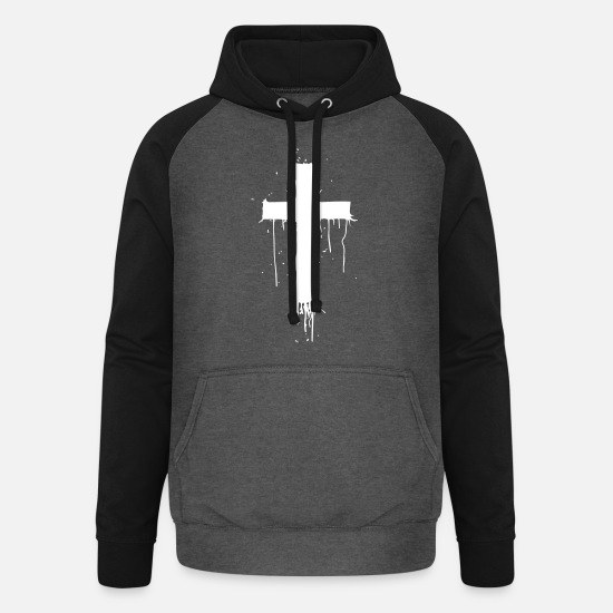 Think Hoodies & Sweatshirts - Bloody Cross - Unisex Baseball Hoodie graphite/black