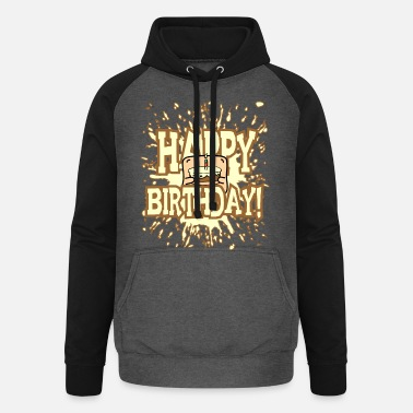 Little Creatures Funny little creature - brings birthday cake - Unisex Baseball Hoodie
