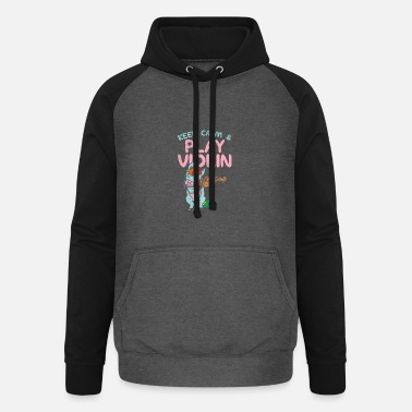 Fiddlestick Violin player gifts funny unicorn - Unisex Baseball Hoodie